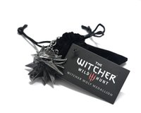 Wholesale Games Solitaires - 2016 the Witcher 3 Pendant   The Wild Hunt 3 Figure Game Necklace   Wizard Medallion Wolf chain + Necklace
