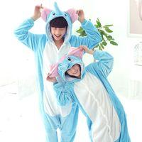 Wholesale adult onesie fleece - Wholesale-Free Shipping Designer kawaii Anime Animal Blue Pajamas Adult Unisex Women Men Onesie Polyester Polar Fleece Sleepwear