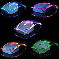 yakıyorum toptan satış-Ultra-ince Şeffaf Renkli Işık Fare Yayan 2.4G Kablosuz Fare Optik light up Bilgisayar dizüstü Çok renkli Değişen Aydınlık Fare