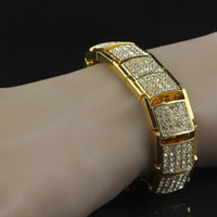 Wholesale Ring Ice Cubes - Iced Out Bling Bling Men Steampunk Hip Hop Bracelet with cube link For Men Fashion Jewelry
