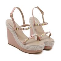 ingrosso sandali intrecciati bianchi-2012 Chic Summer Beige Colore Straw Woven Wedge Sandal Platform Tacchi Rosa Bianco Nero Beige 2018 Taglia 34-40