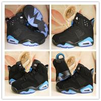 Wholesale Fashion Bands - 2017 Air Retro 6 UNC Basketball Shoes Fashion Men Women Black University Blue 6s Basketball Sneakers With Shoes Box