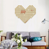 Wholesale Post Heart - 3D mirror wall stickers Creative fashion Home Decor DIY Heart-shaped Carved bedroom Removable Mosaic Decoration Stickers 2017 wholesale