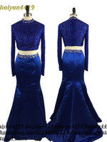 Wholesale 2'piece prom dresses for sale - Group buy 2017 New Two Pieces Prom Dresses High Collar Crystal Beaded Long Mermaid Pieces Open Back Royal Blue Formal Party Dress Evening Gowns