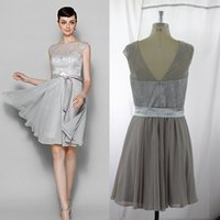 Wholesale Chiffon Bateau Knee Length Dress - real images Silver Grey Knee Length Cocktail Dress Sheer Neck Bateau Chiffon Lace Short Prom Dress Backless Ribbon Occasion Dress