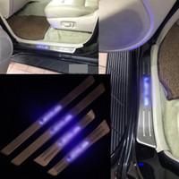 lider karşılama plakası toptan satış-Lexus LX470 1998-07 Için 4 Adet / takım Araba Oto Kapı Plaka Eşik Pedalı Karşılama Paneli ile LED