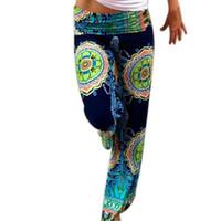 ingrosso pantaloni di stampa bohemien-All'ingrosso-Hot Bohemian Women Pantalone vintage pantaloni larghi delle signore Boho stampa fiori astratti abbigliamento pantaloni larghi femminili Blending K108