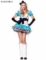 Wholesale Adult Alice Costume - Wholesale-Alice in Wonderland Costume Sexy Blue Maid Costume Adult Fancy Dress Cosplay sexy costumes Holloween