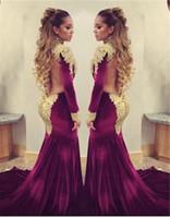 vestidos curtos toptan satış-Çarpıcı Uzun Kollu Altın Aplikler Abiye 2019 Mermaid Tren Kadife Ile Aç Geri Balo Elbise vestidos curtos