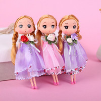 Wholesale beautiful figure girls for sale - Group buy 20Pcs cm Cute Multi Colors Mini Ddung Doll for Girl gift With Beautiful Wedding Dress Keychain