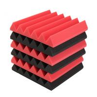 Wholesale Musical Parts - 6pcs 30x30x5cm Acoustic Foam Sound Absorption Musical Instruments Parts & Accessories - Red Black