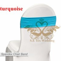 Wholesale Turquoise Chair Bows - Hot Sale Chair Band \ Spandex Chair Sash Bow For Chair Cover - Turquoise Color