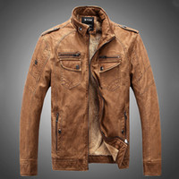 Wholesale champagne leather jacket - Fall-Man Leather Jackets Genuine Pu Leather Jaqueta Masculinas Inverno Couro Jacket Men Jaquetas De Couro Men's Winter Leather Jacket