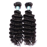 Wholesale hair full head curly weaves - 7A Brazilian Deep Curly Wave Hair Weave 100% Human Hair Extensions Full Head Natural Color Dyeable Bleachable 2pcs Lot