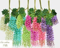 Wholesale Burgundy Garland - Silk Wisteria Rattans 6 Colors Artificial Wisteria Flower Garlands Silk Bean Vine Flowers for Wedding Home Party Floral Decorations
