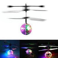 Wholesale rc toys online - RC Flying Ball Drone Helicopter Ball Built in Shinning LED Lighting For Kids Toy Xmas Gift YYA778