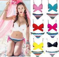 Wholesale Korean Swimsuit Women - Korean Style Criss Cross Halter Top Wrap Bikini Push Up Bathing Suits Sexy Print Swimwear Bottom Women Bandage Swimsuit
