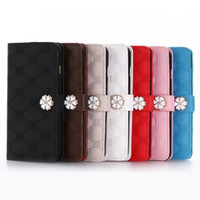 Wholesale wallets for iphone5 - Luxury Leather Cover for iphone5 6 Wallet Phone Frame Card Slot Kickstand Case for iphone7 iphone7 plus Flower Button Pattern