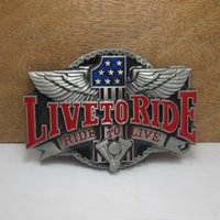 Wholesale Wholesale Bikers Belts - BuckleHome live to ride belt buckle biker belt buckle with pewter finish FP-02491 free shipping