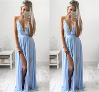 Wholesale Sexy Split Side Chiffon Maxi - Sexy Deep V-neck Baby Blue Prom Dresses 2016 Chiffon Spaghetti Straps V Neck Side Split Evening Dresses Cheap Maxi Party Dresses BA2184