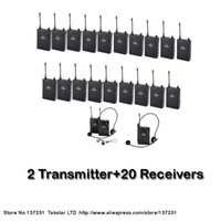 Wholesale Takstar Tour Guide System - NEW Tour guiding training Takstar UHF-938 UHF frequency Wireless Tour Guide System 50m Operating Range 2 Transmitter+20 Receivers