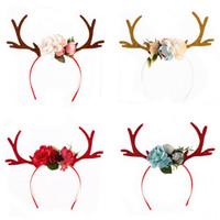 Wholesale Plastic Reindeers - Baby Girls Christmas Hair Bands 2017 Fashion Boutique Reindeer Headband 3D Fabric Flower Deer Hair Accessories HX-666