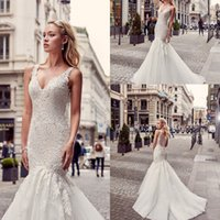 Wholesale Eddy K - 2017 New Arabic Style Eddy K Mermaid Wedding Dresses V-neck Lace Sleeveless Button Back Sweep Train Hollow Back Bridal Gowns with Buttons