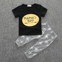 Wholesale Top Quality Wholesale Clothing - 2016 MAMAS BOY baby clothing setsToddler clothes Gold arrow cotton short sleeve black T-shirts tops gray pants 2pcs sets quality