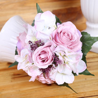 Wedding spring flowers wedding bouquet - colors Emulational Spring Artificial Rose Hydrangea flower Bouquets Silk Flower weddding or Home Room decoration
