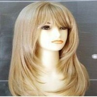 Wholesale blonde wig bangs long - 2016 New Arrival Hot Stylish 18 inches Long Straight Light Blonde Side Bang Synthetic Hair Cosplay Wig&Party wig  Full Wigs
