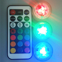 Wholesale Led Lights Marriages - 10pcs Wedding Decoration Remote Control Waterproof Submersible LED Party Tea Table Mini Light With Battery For Marriage Halloween Christmas