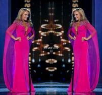 vestidos de gasa para mujeres al por mayor-Miss EE.UU. desfile 2019 vestidos de noche con gasa del cabo cuello abalorios hundiendo la vaina de las mujeres ropa formal árabe Celebrity vestidos de baile