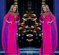Wholesale Woman Pageant Dress Bead - Miss USA Pageant 2016 Evening Gowns with Cape Fuchsia Chiffon Beading Neck Plunging Sheath Women Arabic Formal Wear Celebrity Prom Dresses