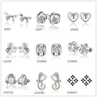 Wholesale Cubic Zirconia Stud Earrings Cheap - Burst models 10 pairs mixed style women's heart pearl flower crystal gemstone 18k white gold earring GTG43,cheap white gold stud earrings