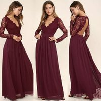 Wholesale Maroon Chiffon - Western Country Style Maroon Chiffon 2017 Bridesmaid Dresses Burgundy Lace Long Sleeves V-Neck Backless Beach Wedding Party Dresses Cheap