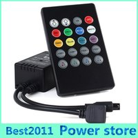 Wholesale Rgb Led Strip Audio - Music controller  Audio sound sensitive for LED RGB Strip with 20keys IR remote for led ribbion DC12v 6A Black Free shipping