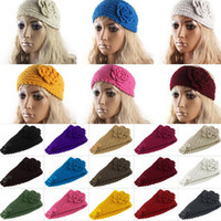 Wholesale Hair Bands Winter Accessories - Women Headband Wool Crochet Headband Knit Hair band Winter Warm headbands Ear Warmer Girls Headwrap Hair Accessories 24 Colors D498 100pcs