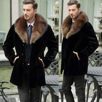 couro de vison venda por atacado-Queda-Preta quente casual curto faux Mink casaco de pele de coelho dos homens jaqueta de couro dos homens casacos Villus inverno solto térmica outerwear gola de pele