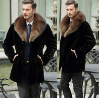 siyah mink kürk montlar toptan satış-Sonbahar-Siyah sıcak rahat kısa faux Vizon tavşan kürk erkek deri ceket erkekler coats Villus kış gevşek termal giyim kürk yaka
