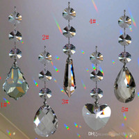 10PCS Crystal Chandelier Lamp Prisms Parts Glass Teardrop Pendant с 3-мя восьмеровыми шариками Silver Bowtie Connector