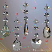 lustre cristal lâmpada partes venda por atacado-20 PCS Lustres De Cristal Lustre Lâmpada Peças Pingente De Vidro Teardrop com 3 Octagon Beads Prata Bowtie Conector