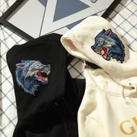 Wholesale Wolf Sweatshirt Xl - fashion brand OFF WHITE GUC Wolf head Men's Hoodies Sweatshirts Causal Brand Designer Men Wolf head Arrow Angel Cotton Hoodie Shirt men Coat