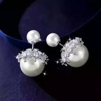 100% Genuine 925 Sterling Silver Earrings Double Side Studs Para Mulher Tow Styles White Pearl And Plain Silver 5pairs Lot IBE1610005