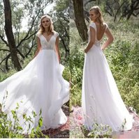 Wholesale Open Back Chiffon Wedding Dresses - Limor Rosen 2017 Vintage Open Back A Line Wedding Dresses With Deep V Neck Beaded Sequins Top Chiffon Floor Length Bridal Gowns