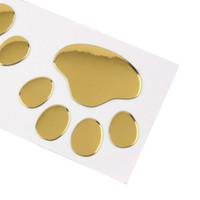 лапы для печати наклейки оптовых-Прохладный дизайн лапы автомобиля наклейки 3D животных собака кошка медведь ноги отпечатки ног след 3 м наклейка наклейки автомобиля серебро золото