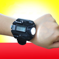 Wholesale Wrist Watch Led Flashlight - Multifunctional Waterproof Sports Watch Flashlight LED Torch Lamp Light Wrist watch flashlight with usb Charge cable