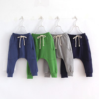 Wholesale Girls Hot Green Pant - Hot selling size90~130 2016 solid children pants for boys trousers girls harem pants candy kids child 5 colors