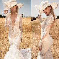 Wholesale Deep Vneck - country wedding dresses 2017 long sleeves mermaid lace wedding gowns keyhole back long train deep vneck bridal gowns