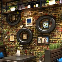 Vintage 3D Brick Pattern Wallpaper Red Brick Wall Persönlichkeit Graffiti Cafe Restaurant Wand Dekor Art Wand Papier Papel De Parede