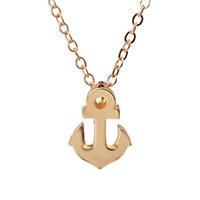 Wholesale silver anchor charm necklace - Dogeared With Card Sparkling Friendship Anchor Gold Silver Plated Pendant Necklace Clavicle Chains Tiny Charms Statement Necklace Women